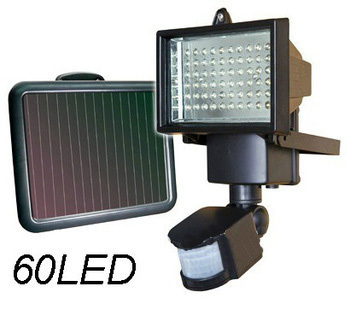 Solar LED outdoor focus with sensor