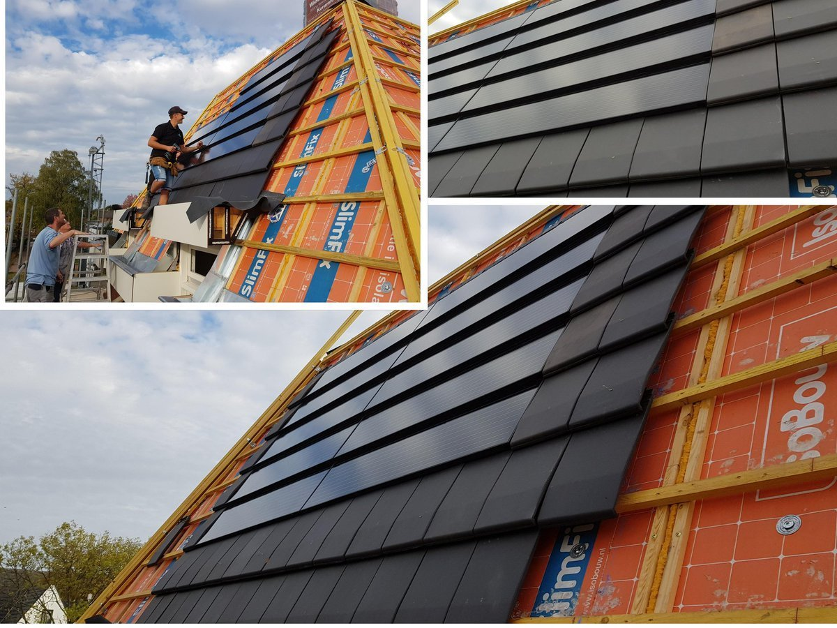 Photovoltaic Solar Roof Tile For Black Flat Roofs Solar